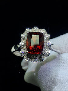 Spinel Ring Fine Jewelry Real 18K Rose Gold AU750 Natural Red Spinel Gemstones 1.8ct Diamonds Female Anniversary Gift Fine Rings