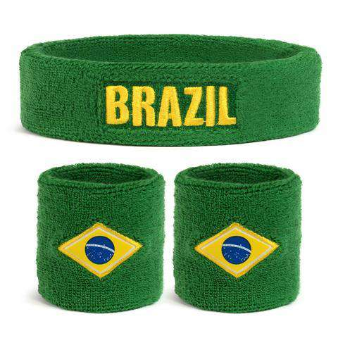 Suddora Brazil Sweatband Set (1 Headband & 2 Wristbands)