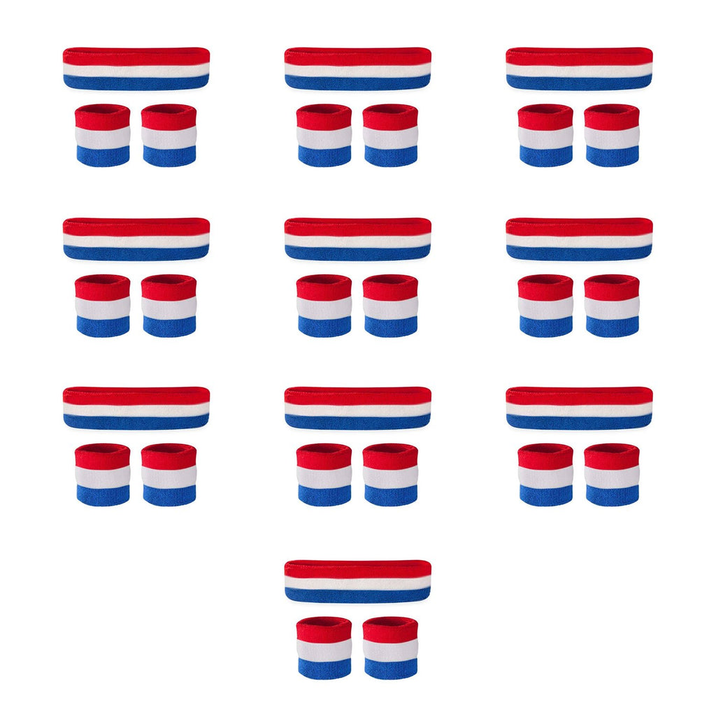 - Bulk Kids Red White & Blue Sweatband Sets (10 Pack)