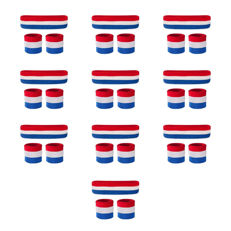 Bulk Kids Red White & Blue Sweatband Sets (10 Pack)