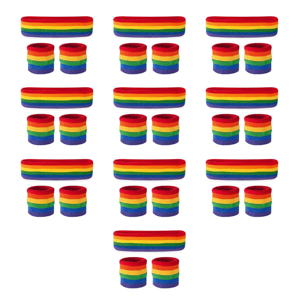 - Bulk Rainbow Sweatband Sets (10 Pack)