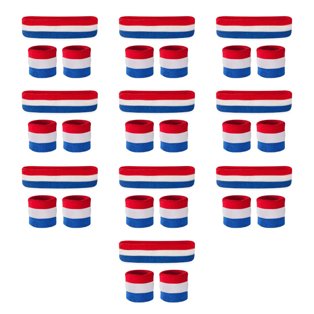 - Bulk Red White & Blue Sweatband Sets (10 Pack)