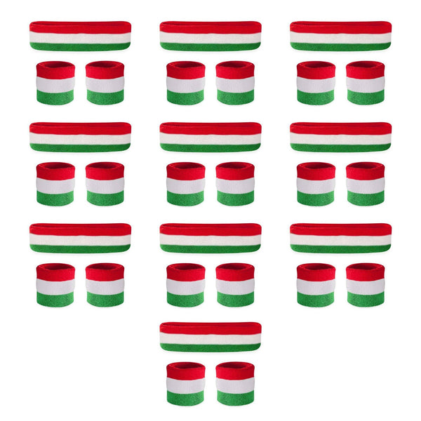 Bulk Striped Sweatbands Sets (10 Pack)