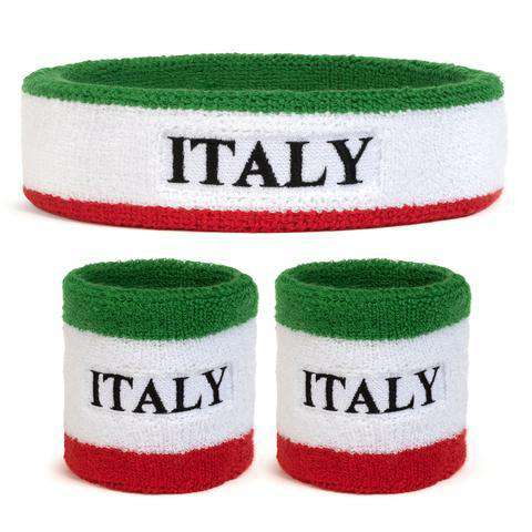 Suddora Italy Sweatband Set (1 Headband & 2 Wristbands)