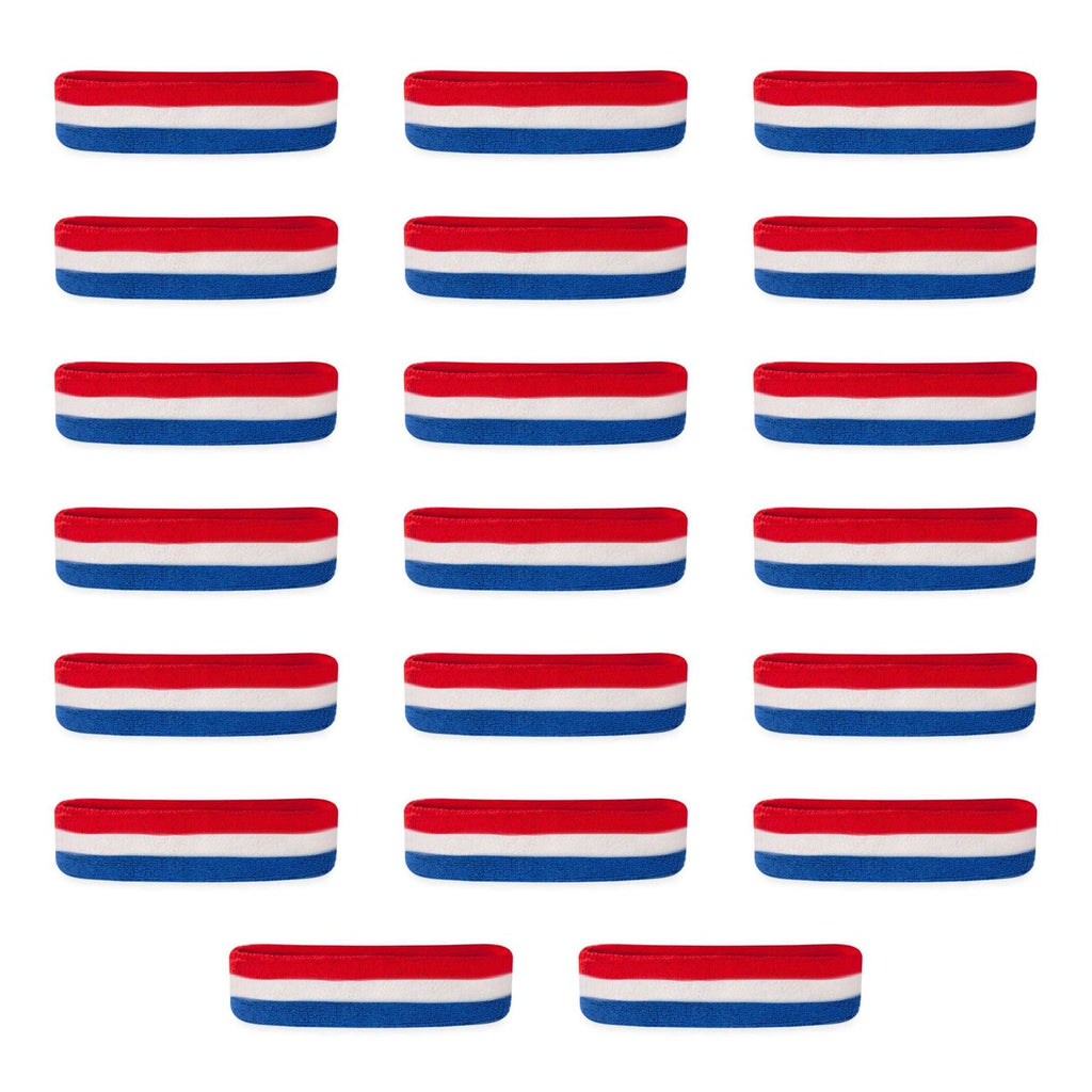 - Bulk Kids Red White & Blue Head Sweatbands (20 Pack)