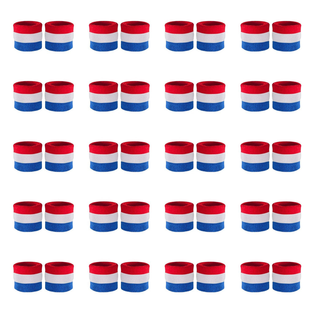 - Bulk Kids Red White & Blue Wristband Pair (20 Pack)
