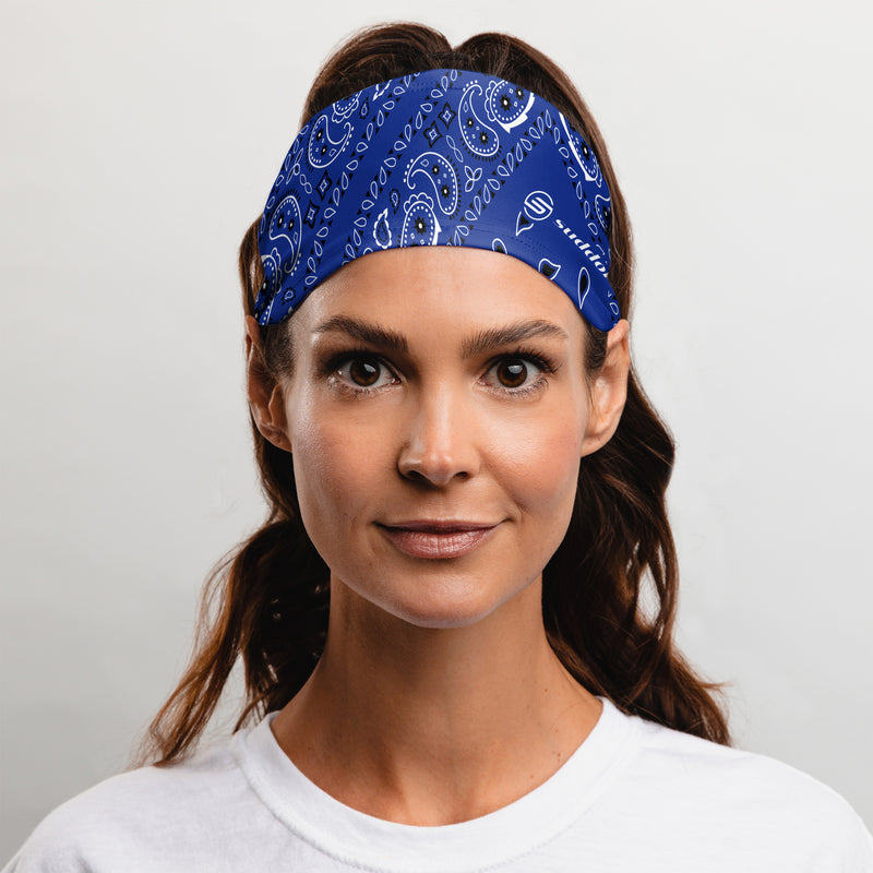 Blue Paisley Bandana Tapered Headband