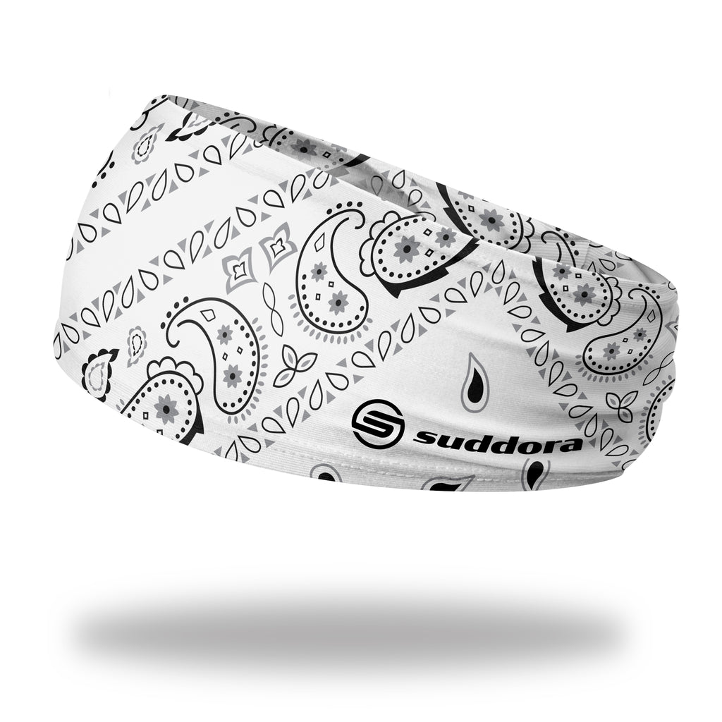 - White Paisley Bandana Tapered Headband