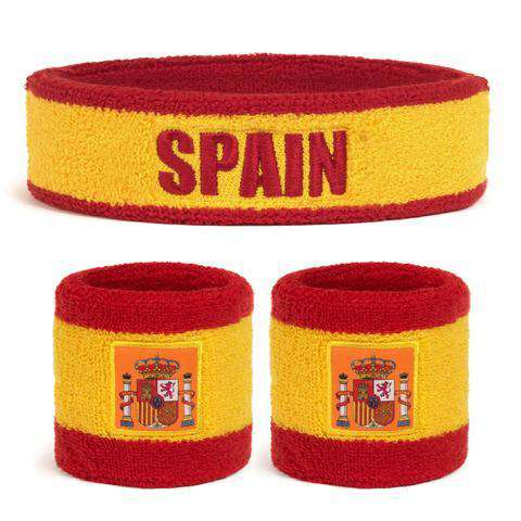 Suddora Spain Sweatband Set (1 Headband & 2 Wristbands)
