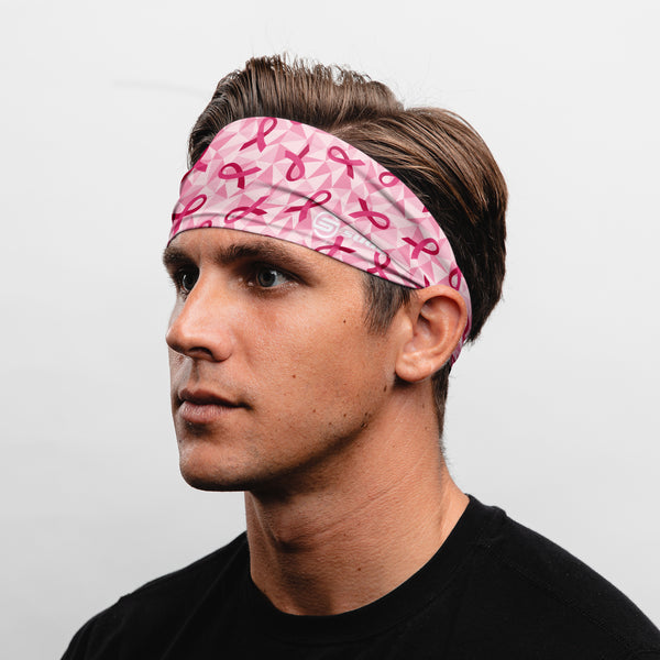 Suddora Pink Ribbon Wide Tapered Non-Slip Headband