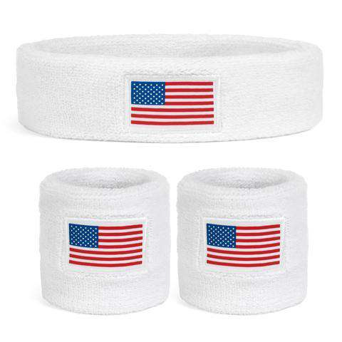 Suddora USA Sweatband Set (1 Headband & 2 Wristbands)