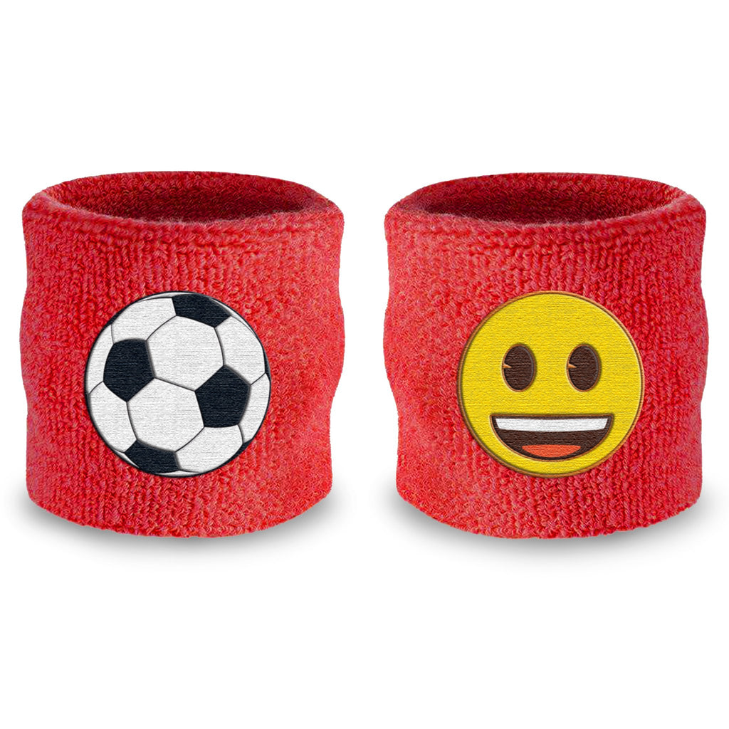 - emoji® Soccer Smile (Red) Wristband Pair