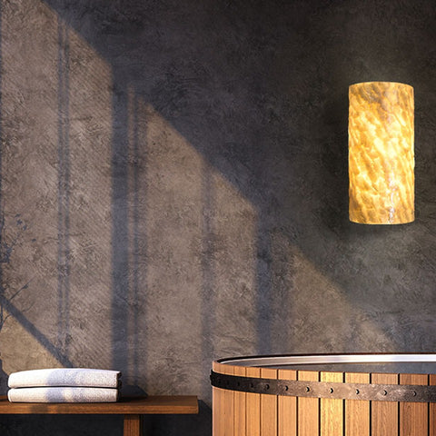 Lit capiz swirl shade in a bathroom