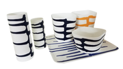Colorful porcelain solstice containers with dramatic ribbons of color