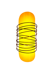lit wired yellow glass shade