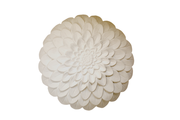 unlit white dahlia bloom shade with bone china porcelain