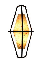 lit fire brilliance light shade with textured terrazo glass and iron frame