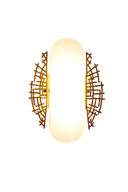 lit summer solstice shade with clear seeded glass hand-painted with silver gold finish
