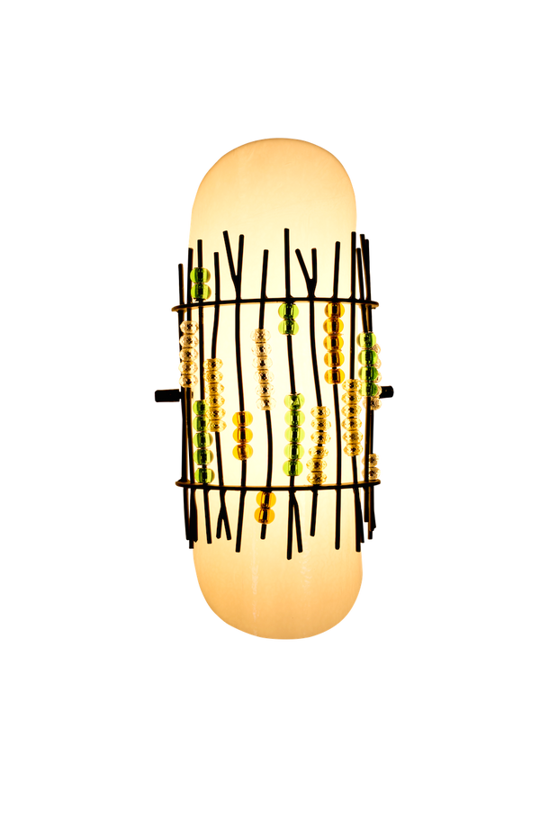 lit spring blossom shade with seeded bent glass and organic metalwork