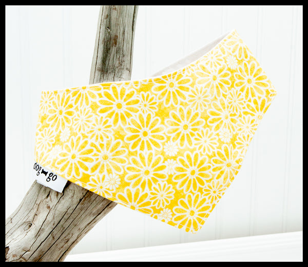 White Flowers on Yellow Pet Bandana