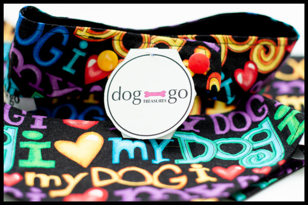 I Heart My Dog Rainbow Pet Bandana