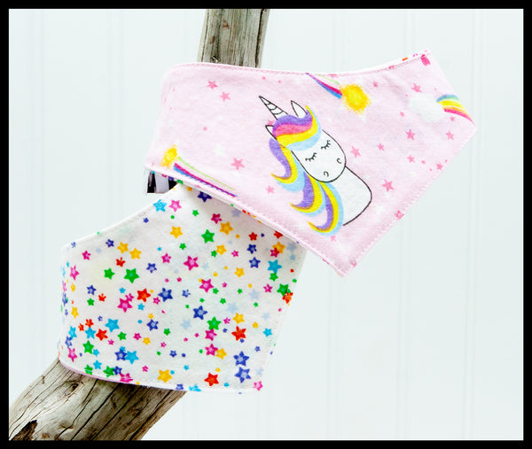 Pink Rainbow Unicorns Pet Bandana