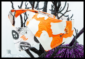 Glow in the Dark Ghosts on Orange & Pumpkins Pet Bandana
