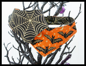 Bats On Orange & Gold Spiderweb Reversible Pet Bandana