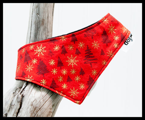 Red & Gold Christmas Trees Pet Bandana