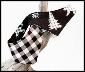 Black & White Plaid Christmas Woodland Animals Reversible Pet Bandana