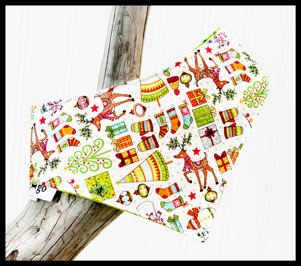 Christmas Items and Stars Reversible Pet Bandana