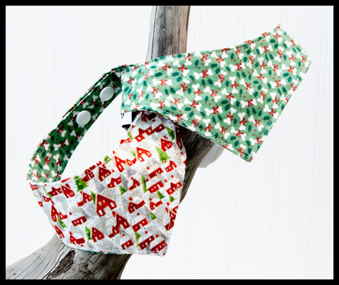 Christmas Bones & Winter Houses Reversible Pet Bandana