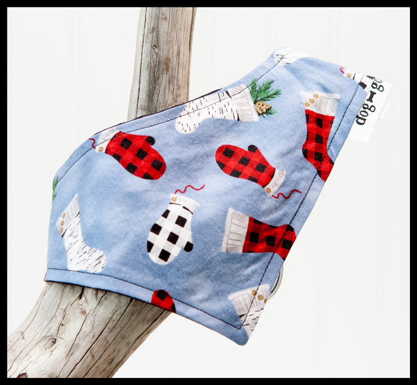 Stockings and Mittens on Blue Background Pet Bandana