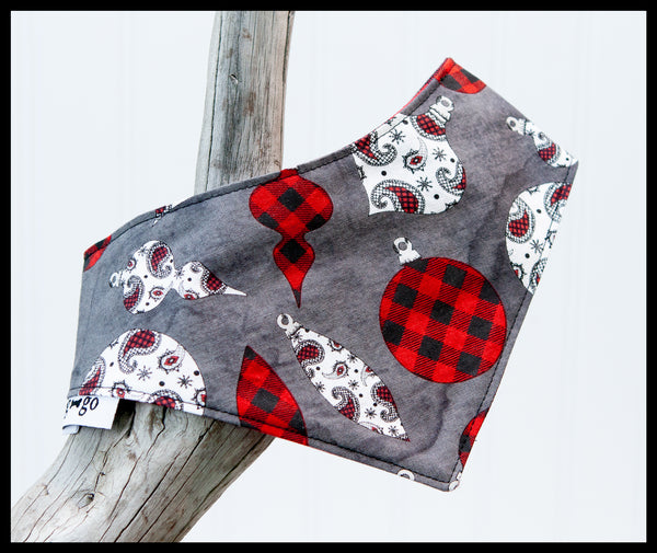 Red Plaid & Paisley Christmas Ornaments with Buffalo Plaid Reversible Pet Bandana