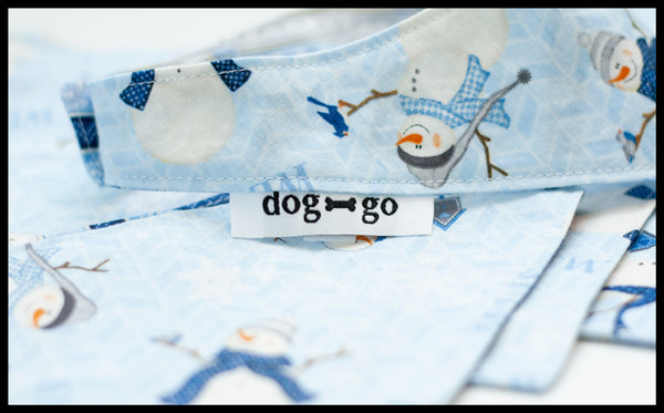 Snowmen with Birds and Snowflake Reversible Pet Bandana