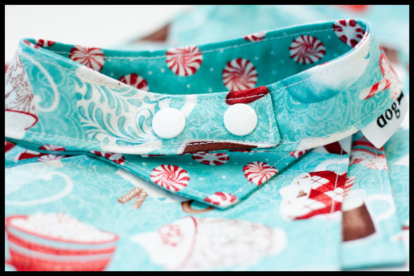 Hot Cocoa and Peppermint Candies Reversible Pet Bandana