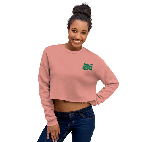 Ninja Crop Sweatshirt (Green on Mauve)