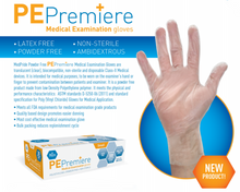 MedPride PE Premiere Medical Polyethylene Exam Gloves, Powder Free