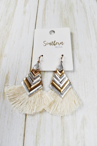Fringe Baby Earrings- Ivory