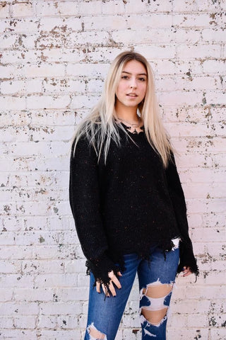 Willow: Distressed Long Sleeve V-Neck Knit Sweater- Black