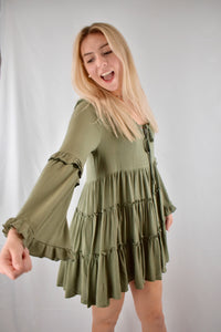 Harper: Tiered Ruffle Skirt Mini Dress- Olive