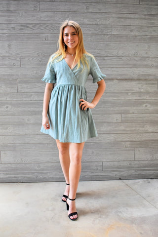 Adalee: V-Neck Short Sleeve Babydoll Dress- Sage Dresses