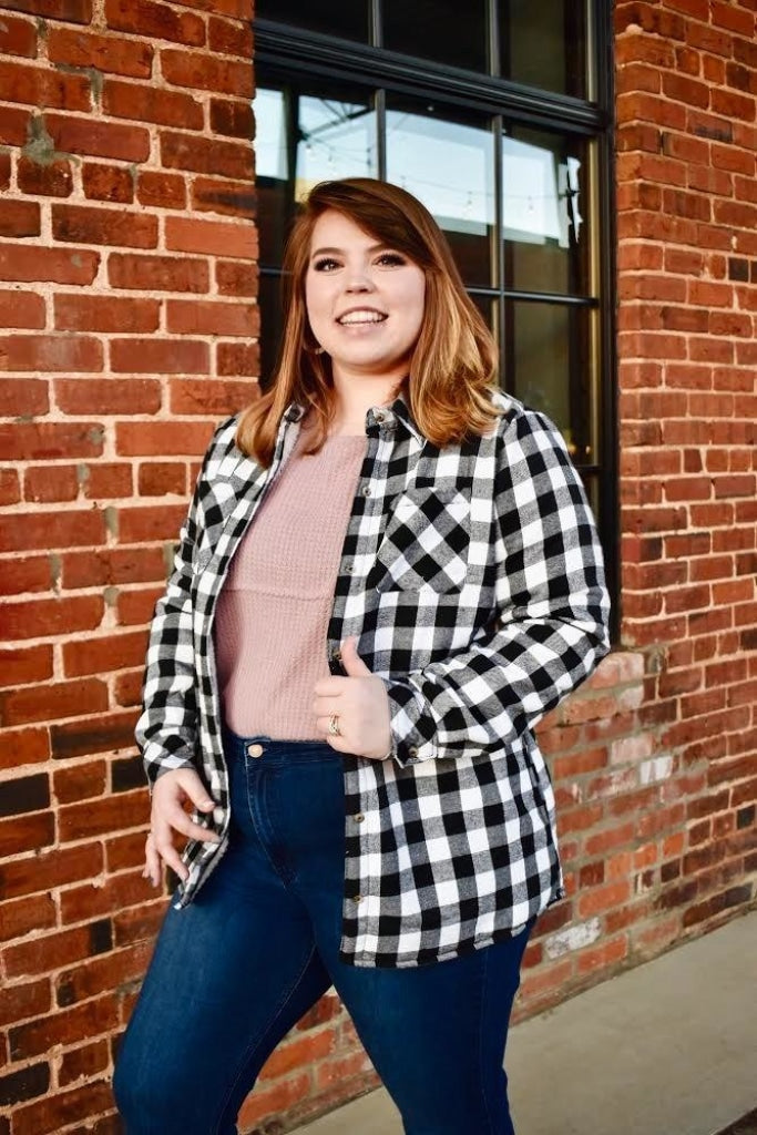 Avery: Fur Lined Plaid Button Down Jacket- White/black