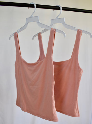 Francesca: Basic Square Neck Tank- Deep Blush/LT. Blue