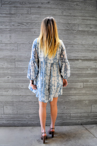 Camilla: Long Sleeve Printed V-Neck Dress- Blue/Ivory