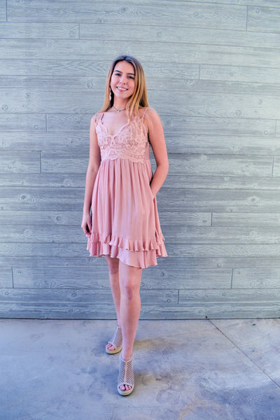 Novah: Crochet Patch V-Neck Layered Ruffle Dress- Blush