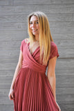 Vivian: Pleated Midi Dress with Pockets- Mauve