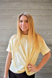 Haisley: Front Hem Knot Short Sleeve Burn Out Tee- Sweet Cream