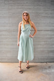 Everlee: Halter Square Neck Apron Midi Dress- Sage