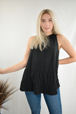 Kenna: Round Neck Ruffle Hem Top- Black/Beige